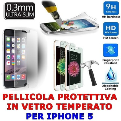 iPhone 5 Pellicola protettiva in vetro temperato antigraffio trasparente 0.3 mm