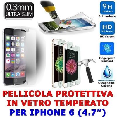 iPhone 6 Pellicola protettiva in vetro temperato antigraffio trasparente 0.3 mm