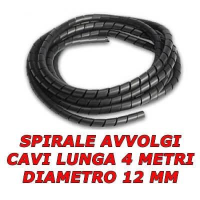 Mini spirale avvolgi copri mangia cavi colore nero lungo 4 metri da 12 mm diametro