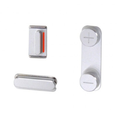 SET DI PULSANTI LATERALI VOLUME + ACCENSIONE + SILENZIOSO PER IPHONE 5S SE SILVER WHITE IP5S-085